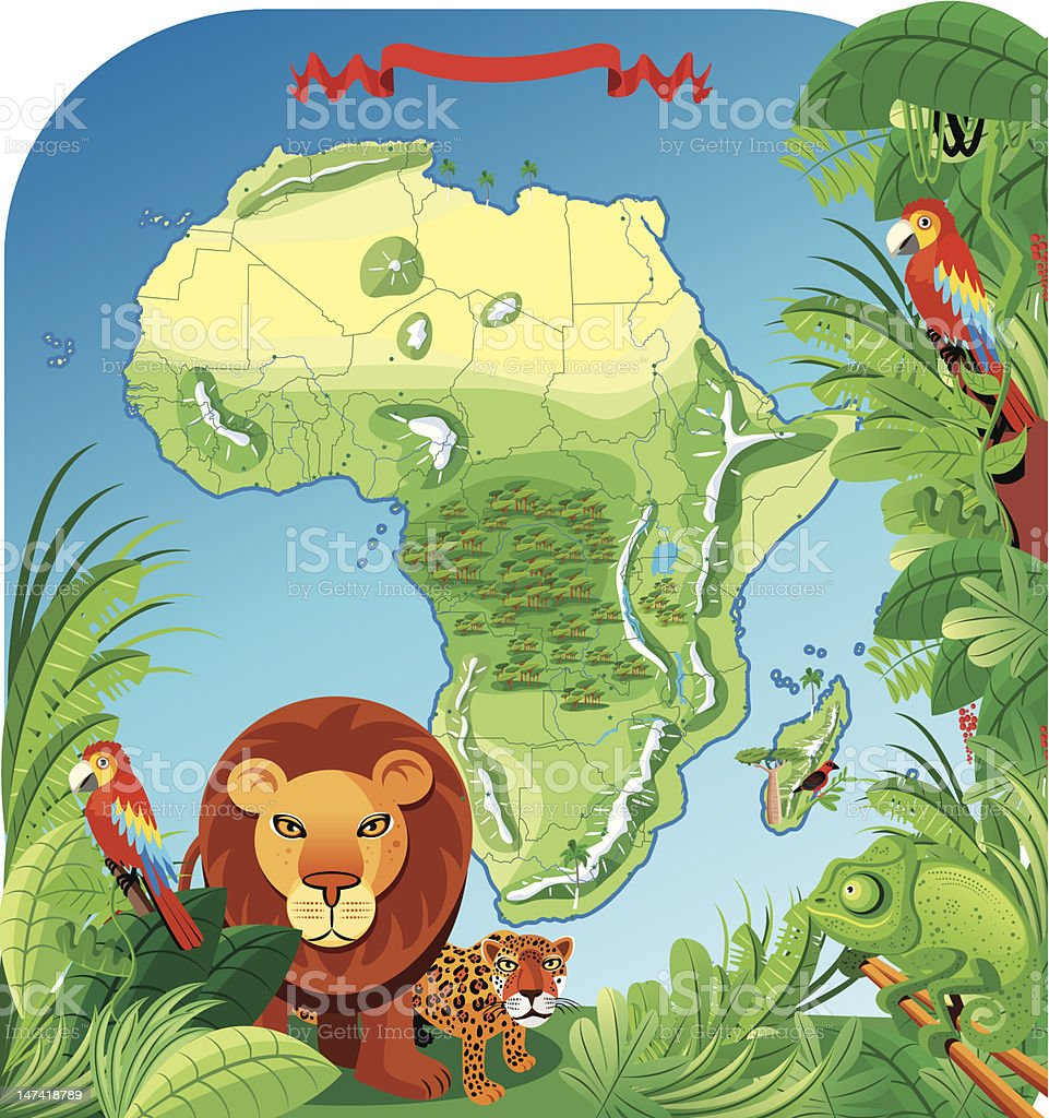 Cartoon Map Of Africa Stock Vector Art More Images Of Animal