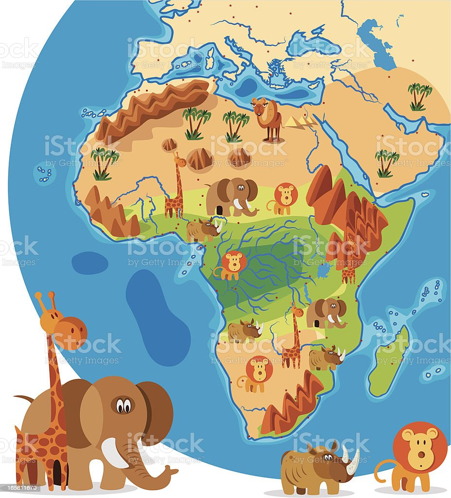 Cartoon Map Of Africa Stock Vector Art More Images Of Africa