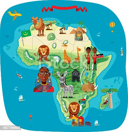 Cartoon map of Africa