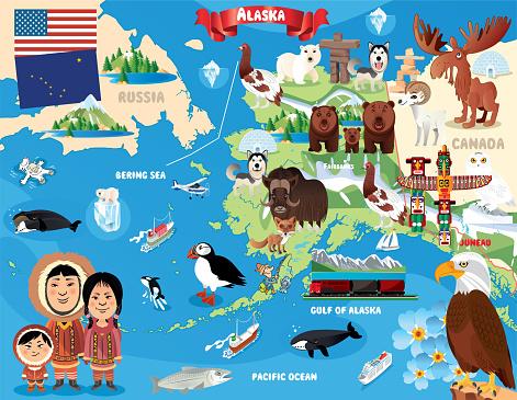 Cartoon map of Alaska