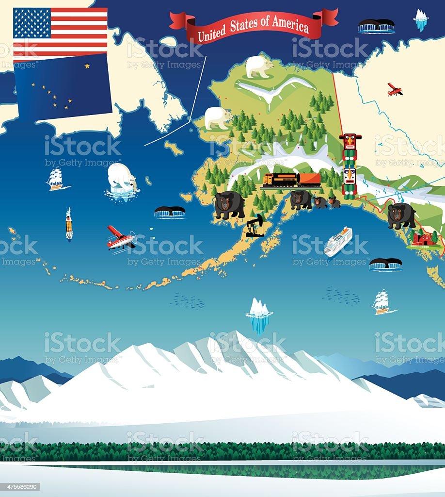 Cartoon Map Of Alaska Stock Illustration - Download Image ...