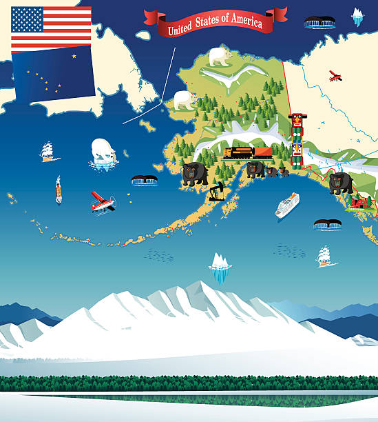 bildbanksillustrationer, clip art samt tecknat material och ikoner med cartoon map of alaska - denali national park
