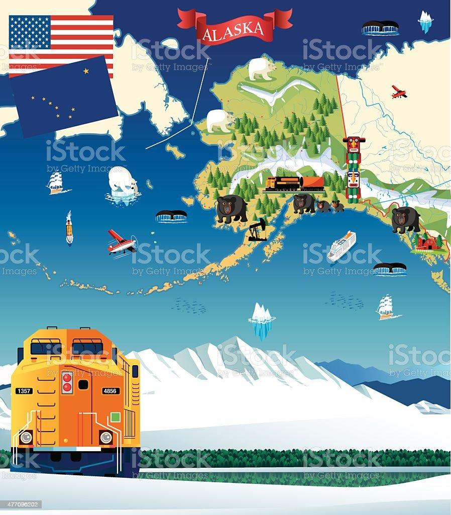 Cartoon map of Alaska vector art illustration