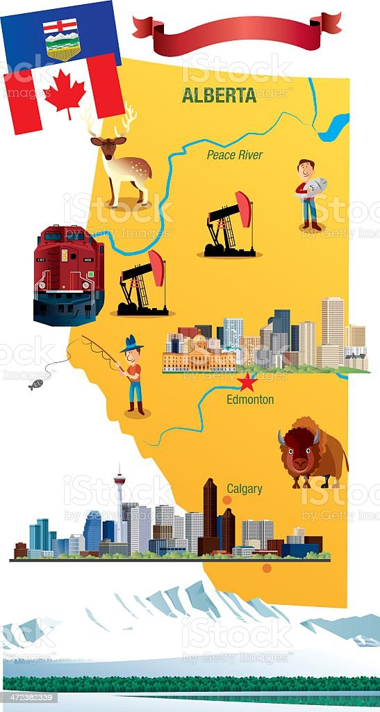 Cartoon map of Alberta vector art illustration