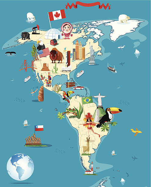 ilustrações, clipart, desenhos animados e ícones de desenho mapa da américa - viagem à américa do sul
