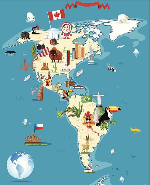 ilustraciones, imágenes clip art, dibujos animados e iconos de stock de dibujo mapa de américa - viaje a sudamérica