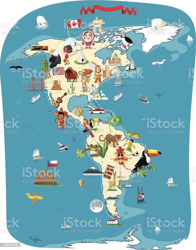 Cartoon map of America royalty-free stock vector art