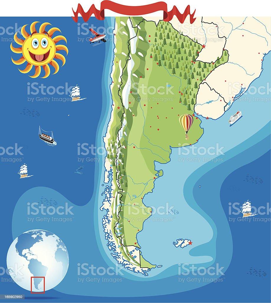 Cartoon Map Of Argentina Stock Vector Art IStock - Argentina globe map