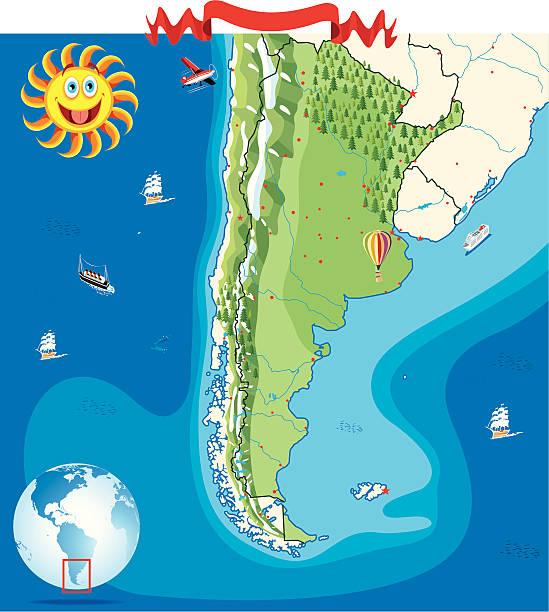 Cartoon map of Argentina vector art illustration