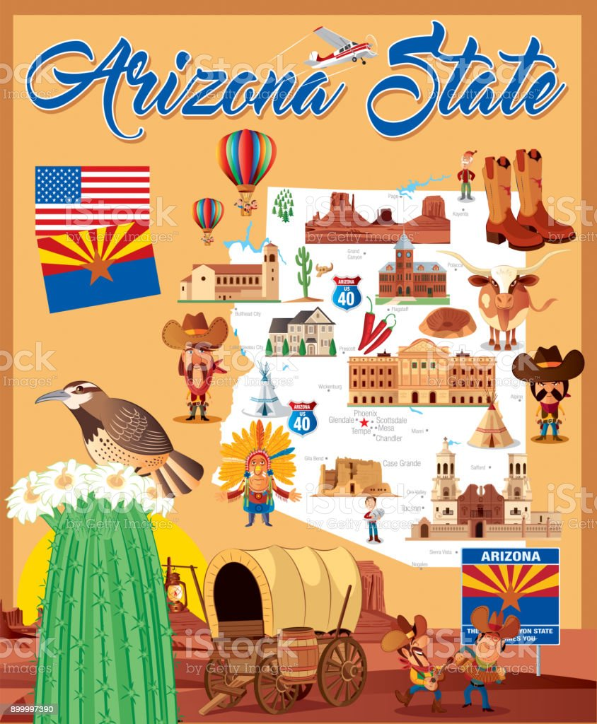 Cartoon map of Arizona State vector art illustration