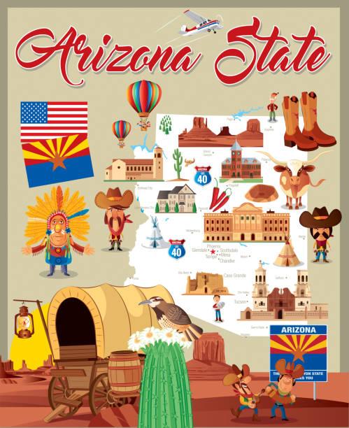 Cartoon map of Arizona State vector art illustration