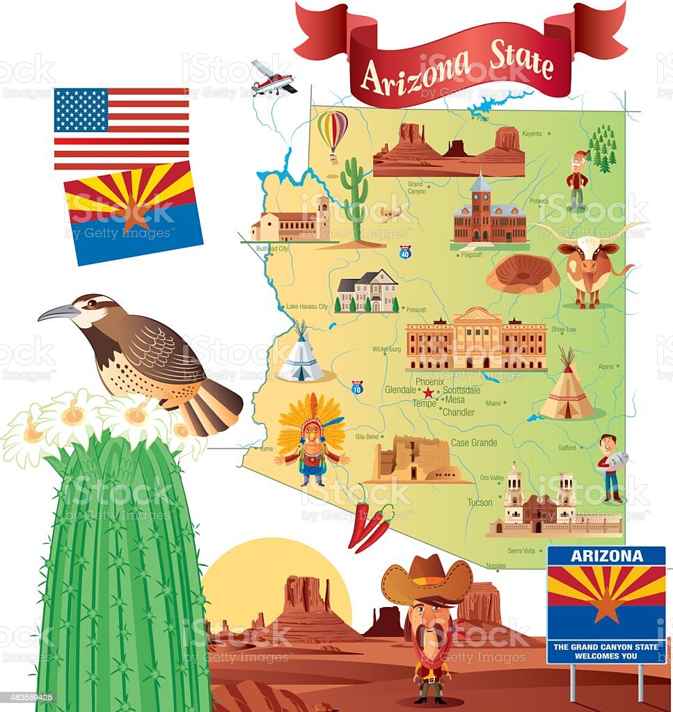 Cartoon Map Of Arizona Stock Vector Art & More Images Of