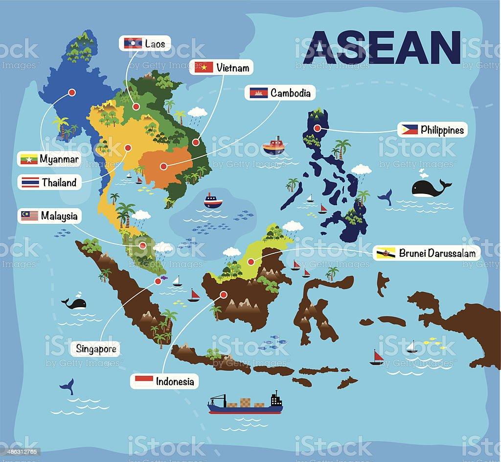 Cartoon map of asean vector art illustration