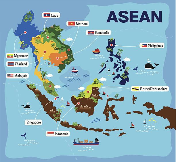 カットイラスト、マップの asean - アジア地図点のイラスト素材/クリップアート素材/マンガ素材/アイコン素材