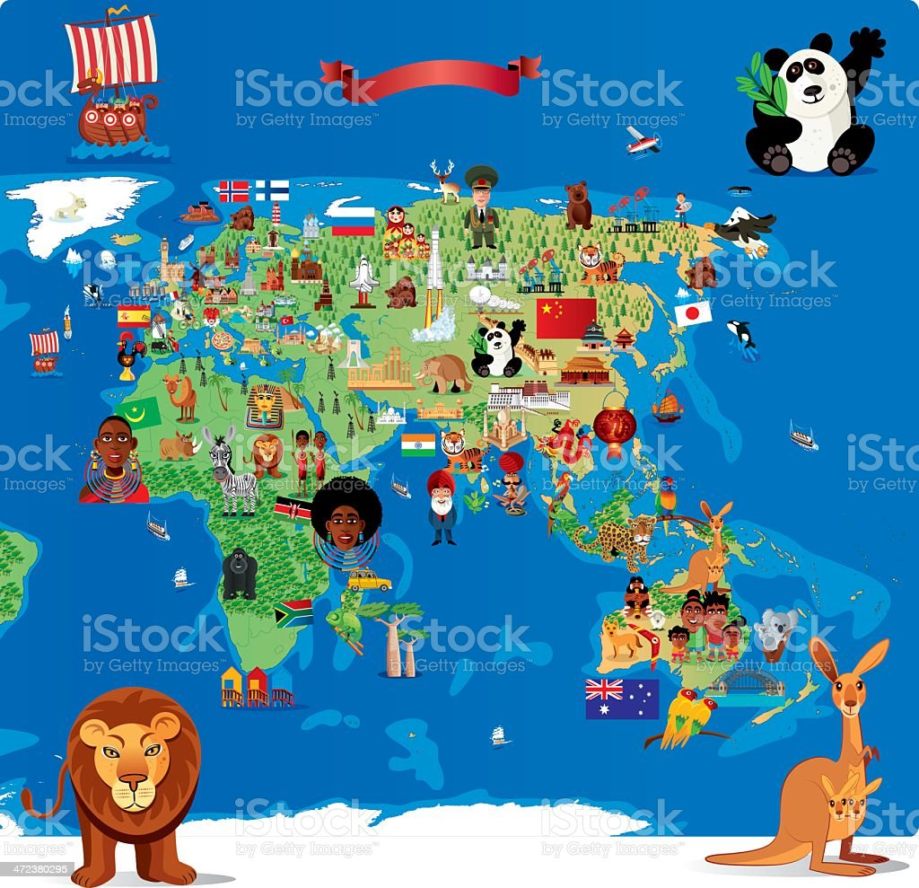 Cartoon map of Asia royalty-free stock vector art