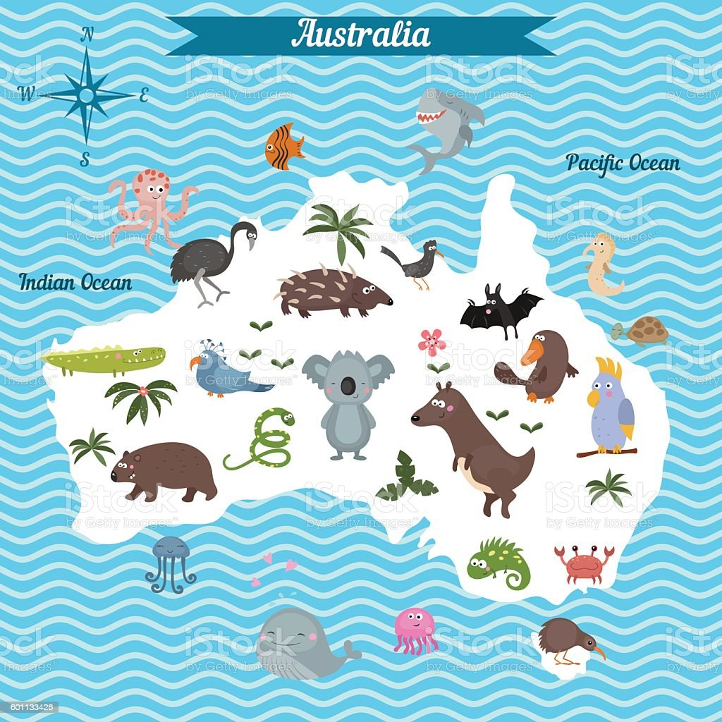 Cartoon Map Of Australia Continent With Different Animals Stock ...