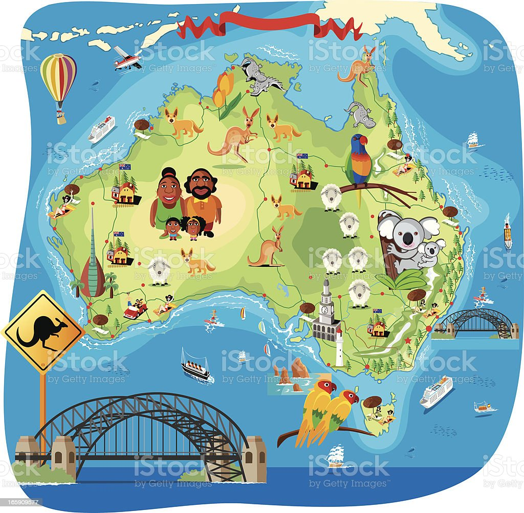 Cartoon map of Australia royalty-free cartoon map of australia stock vector art & more images of adelaide