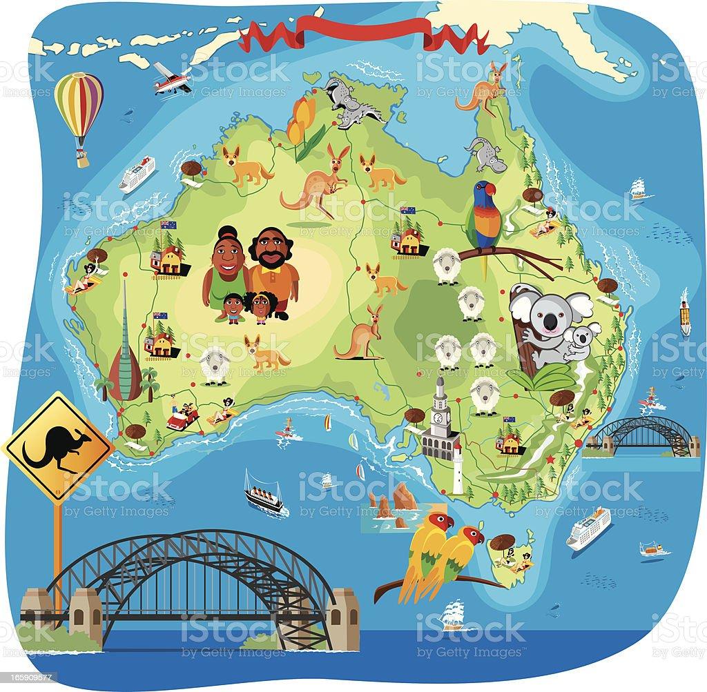 Cartoon map of Australia vector art illustration