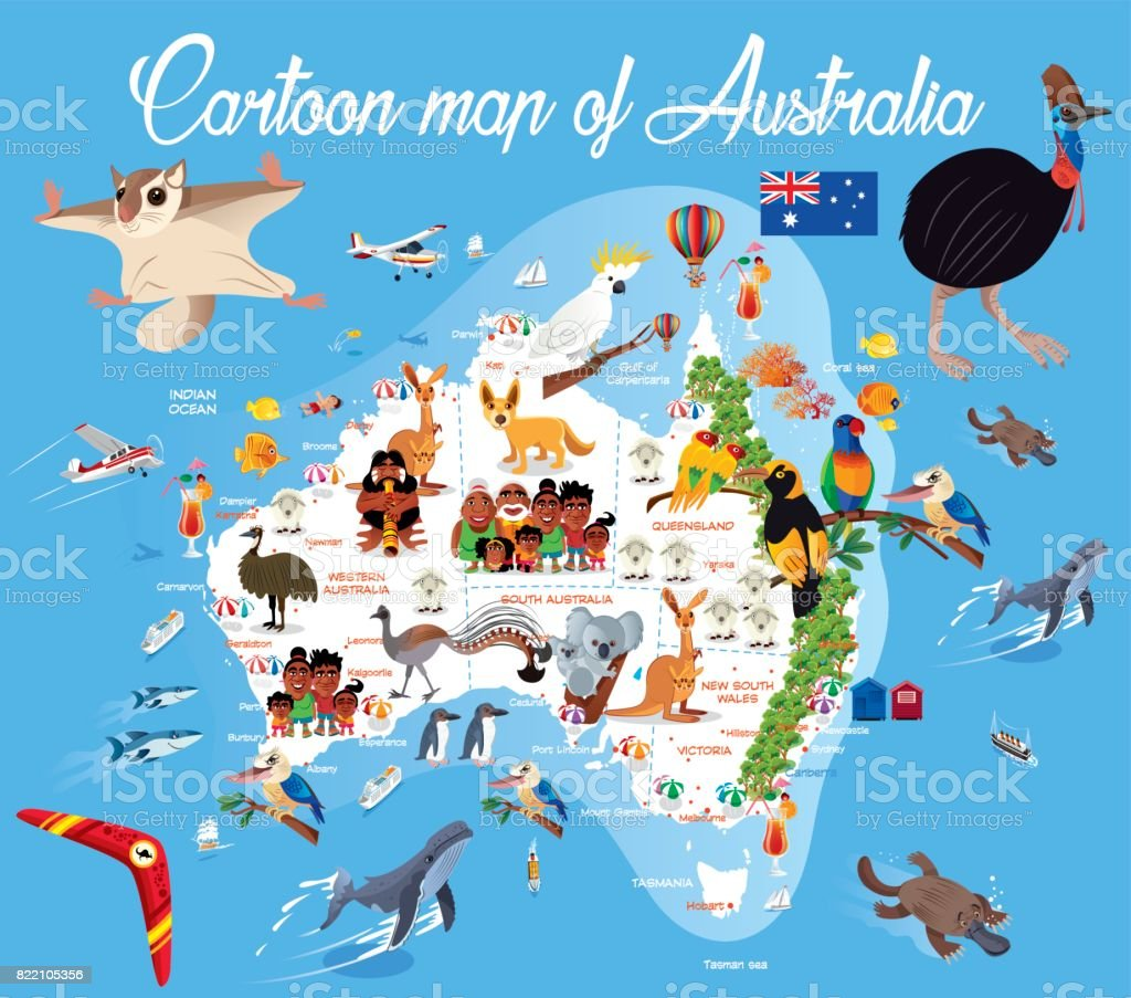 Cartoon map of Australia vector art illustration