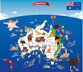 Vector Cartoon map of Australia