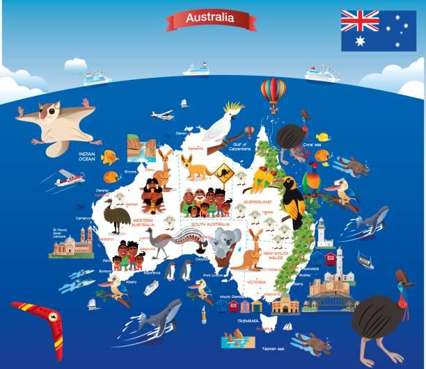 cartoon map of australia - western australia stock illustrations