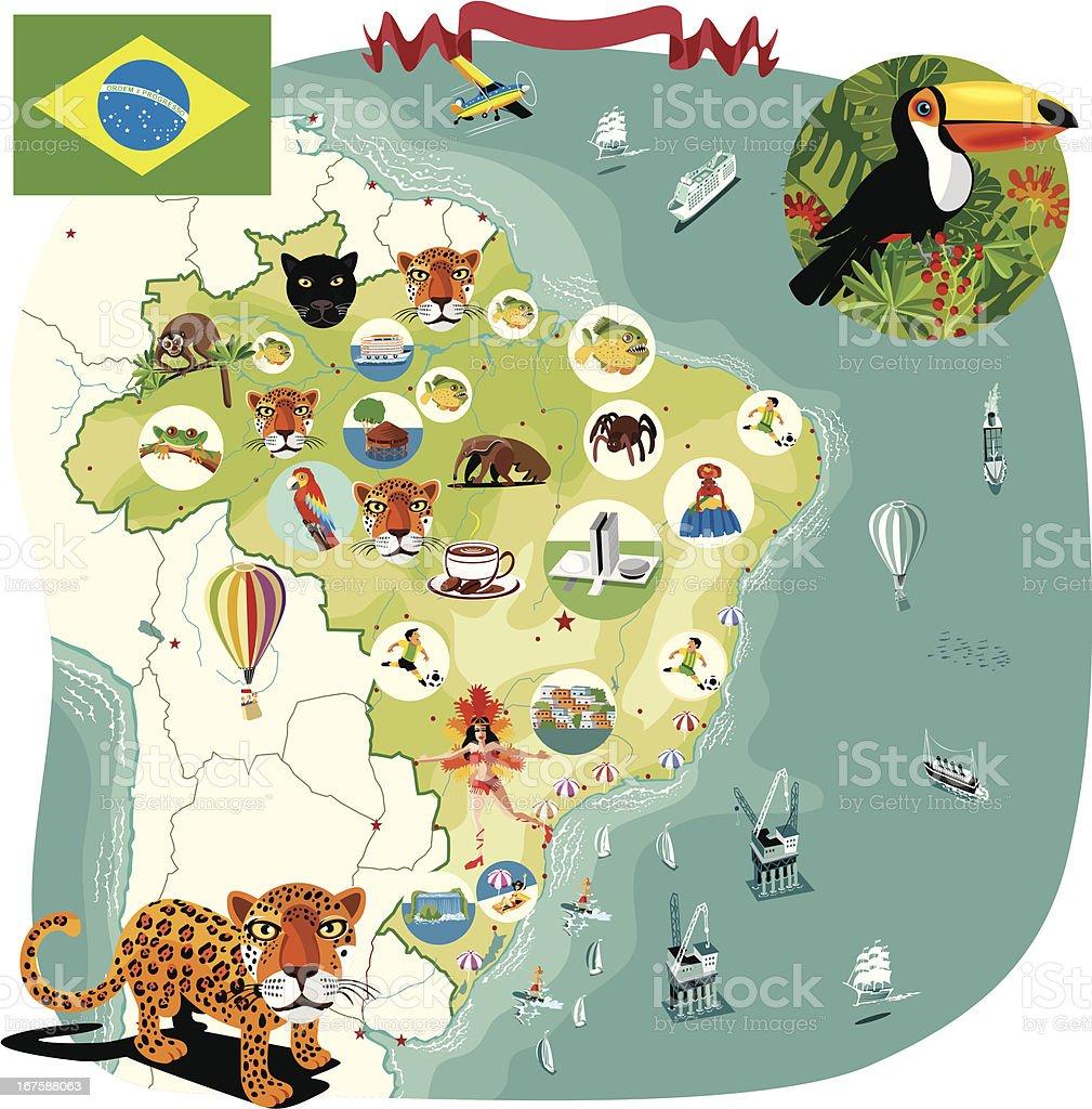 Cartoon map of Brazil vector art illustration