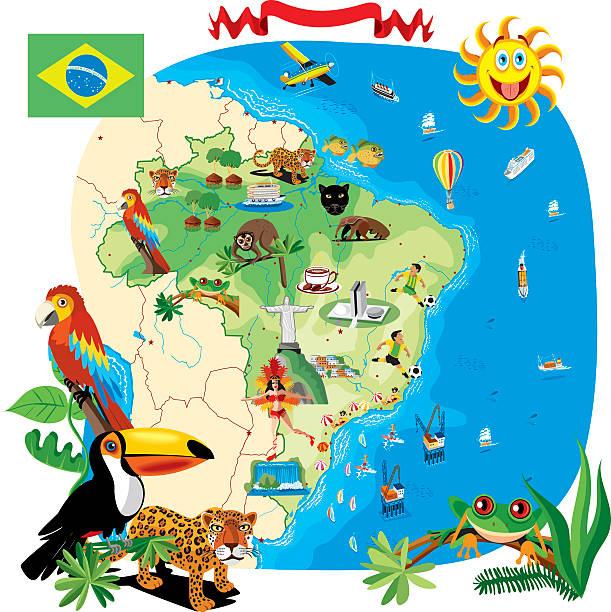 ilustrações, clipart, desenhos animados e ícones de desenho mapa do brasil - manaus