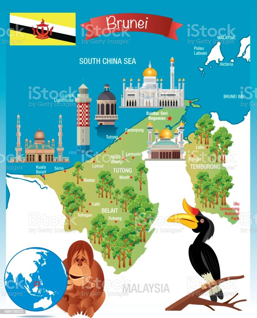 Cartoon Map Of Brunei Stock Vector Art More Images of Asia