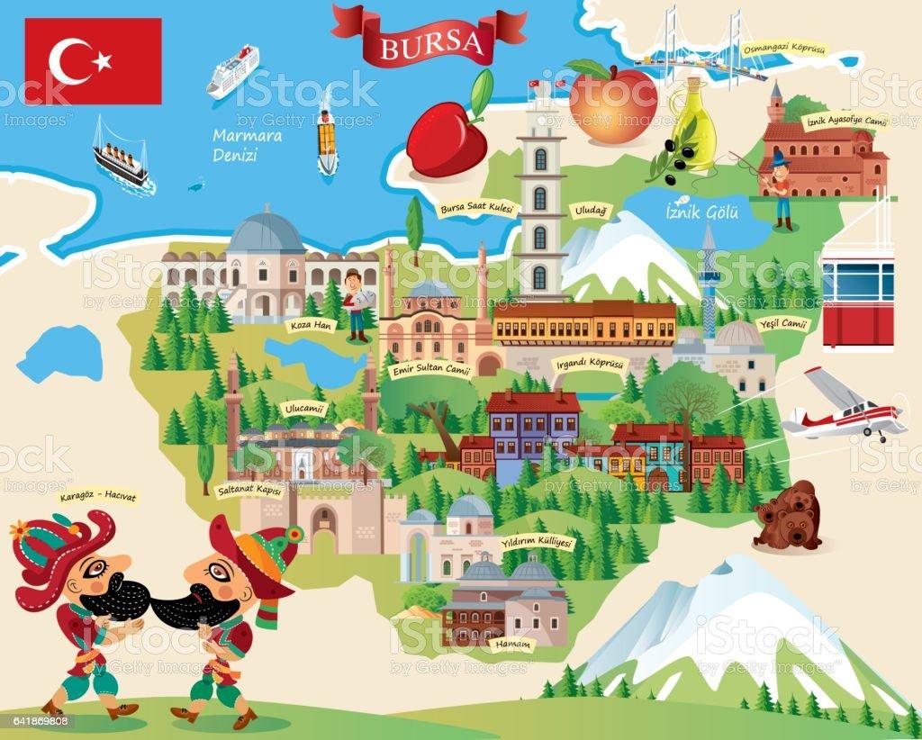 Cartoon Map Of Bursa Stock Vector Art More Images of Anatolia