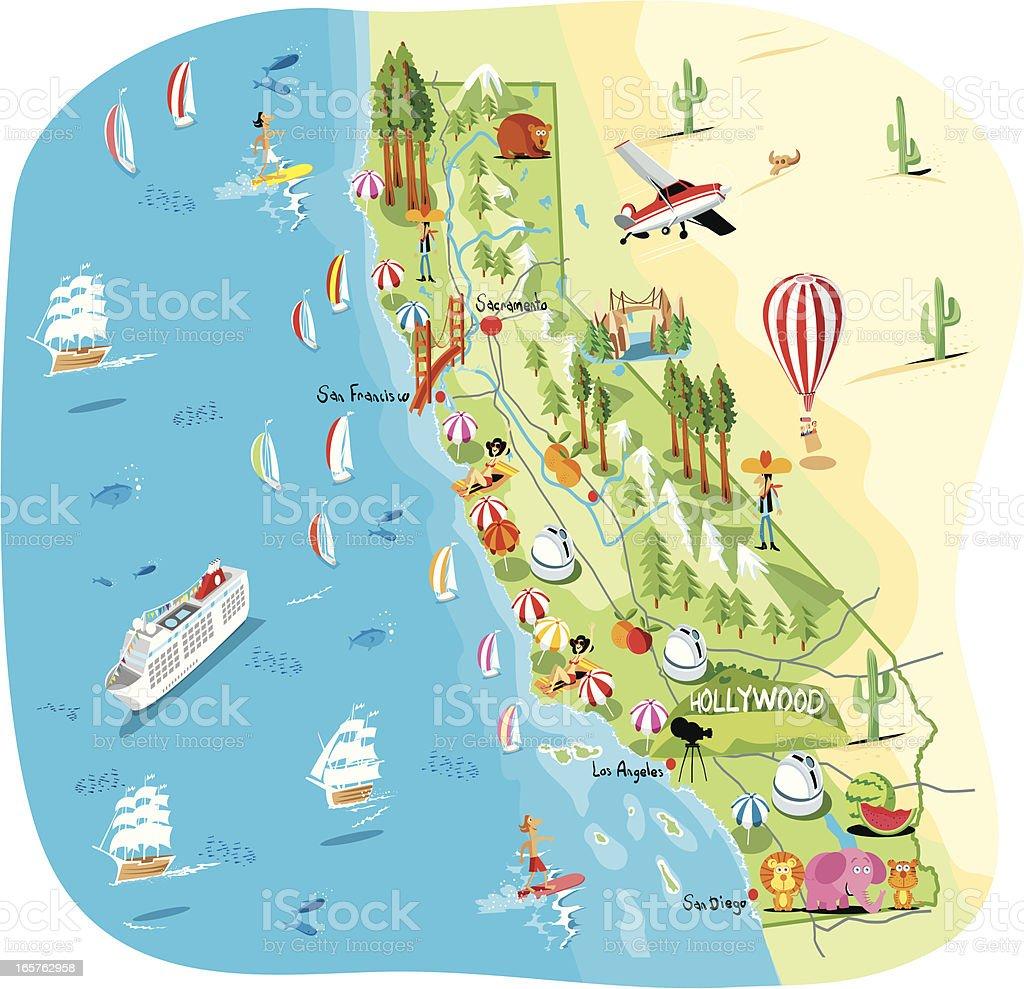 Dibujo Mapa de California - ilustración de arte vectorial