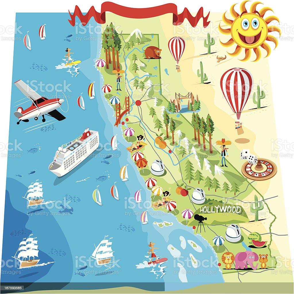 Cartoon Map Of California Stock Vector Art More Images of American