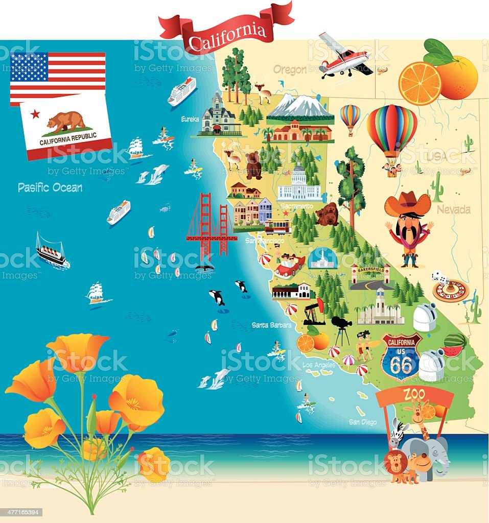 Cartoon Map Of California Stock Vector Art IStock - Mapa california