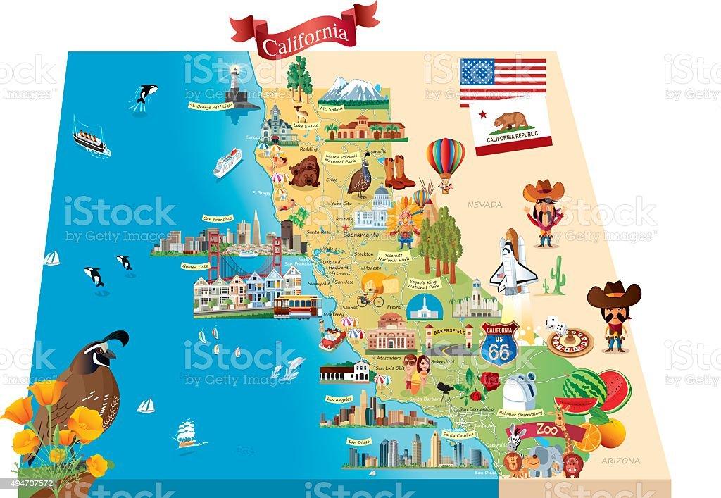 Cartoon Map Of California Stock Vector Art More Images of 2015