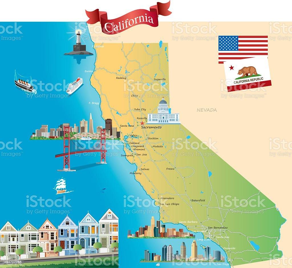 Dibujo Mapa De California Arte Vectorial De Stock Y Más Imágenes - Mapa de california