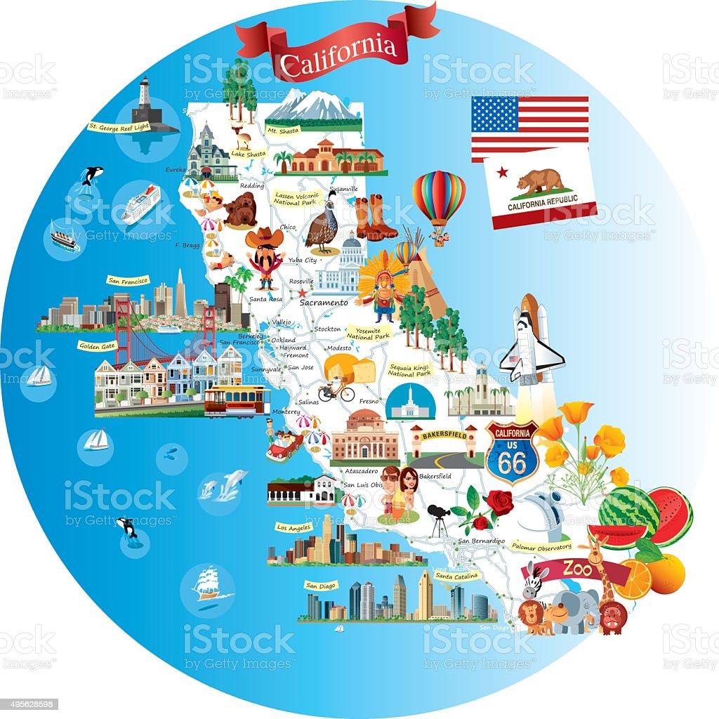 Cartoon map of California vector art illustration
