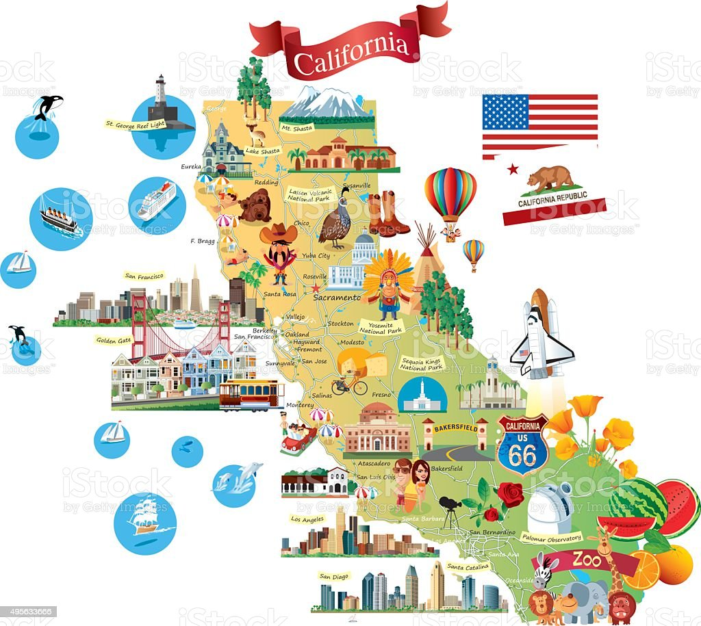 Cartoon Map Of California Stock Vector Art & More Images