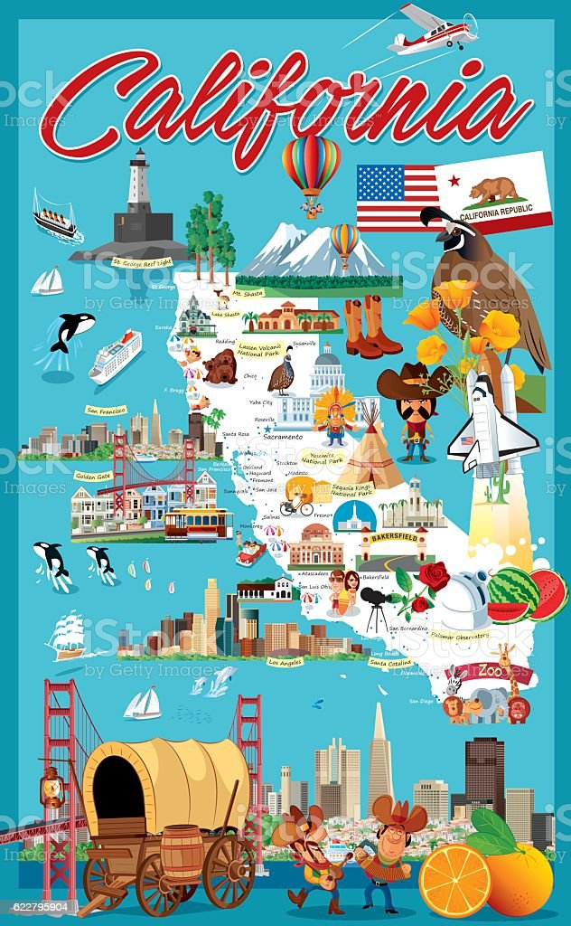 Cartoon map of California vector art illustration