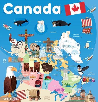 istock Cartoon map of CANADA 1258131773