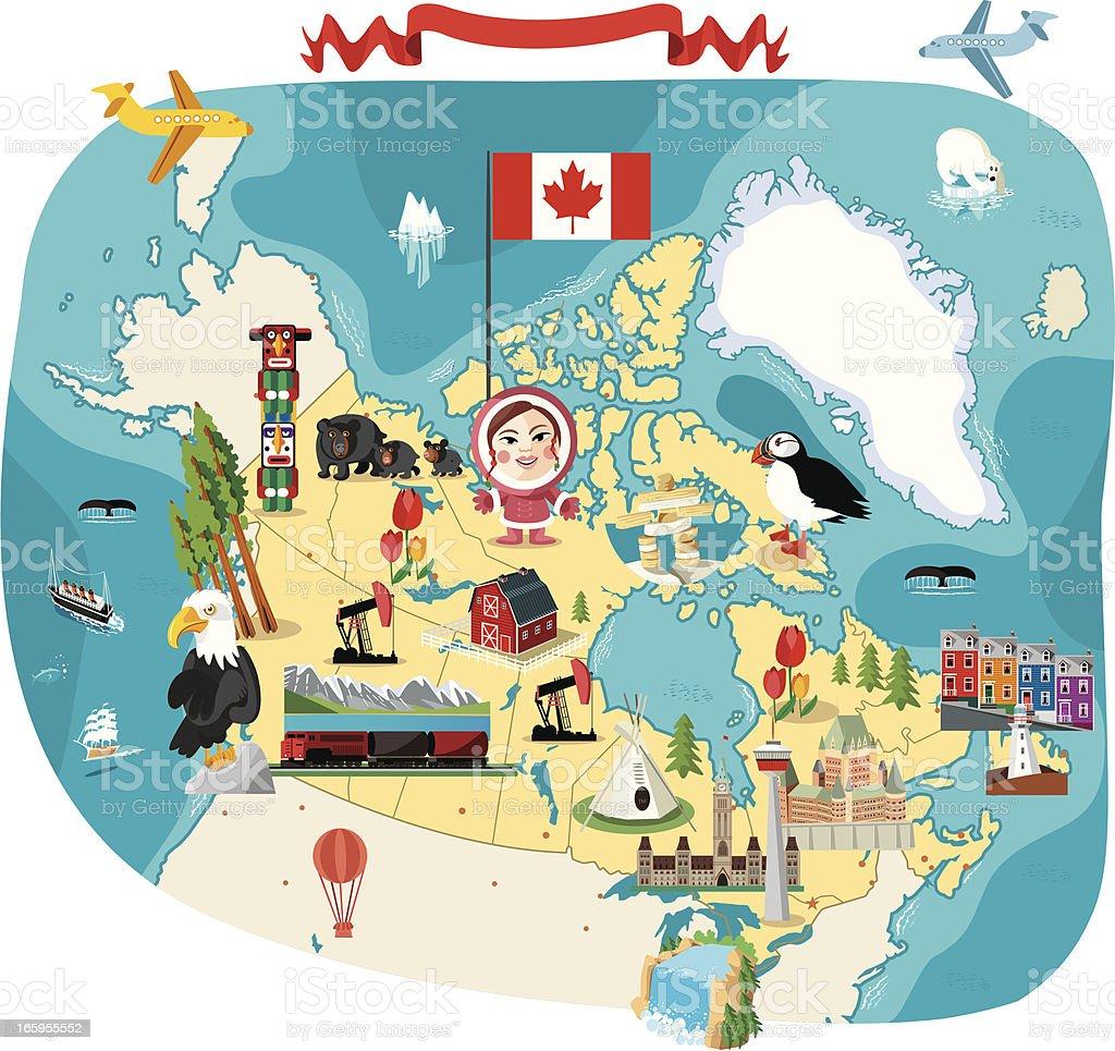 Cartoon Map Of Canada stock vector art 165955552 iStock