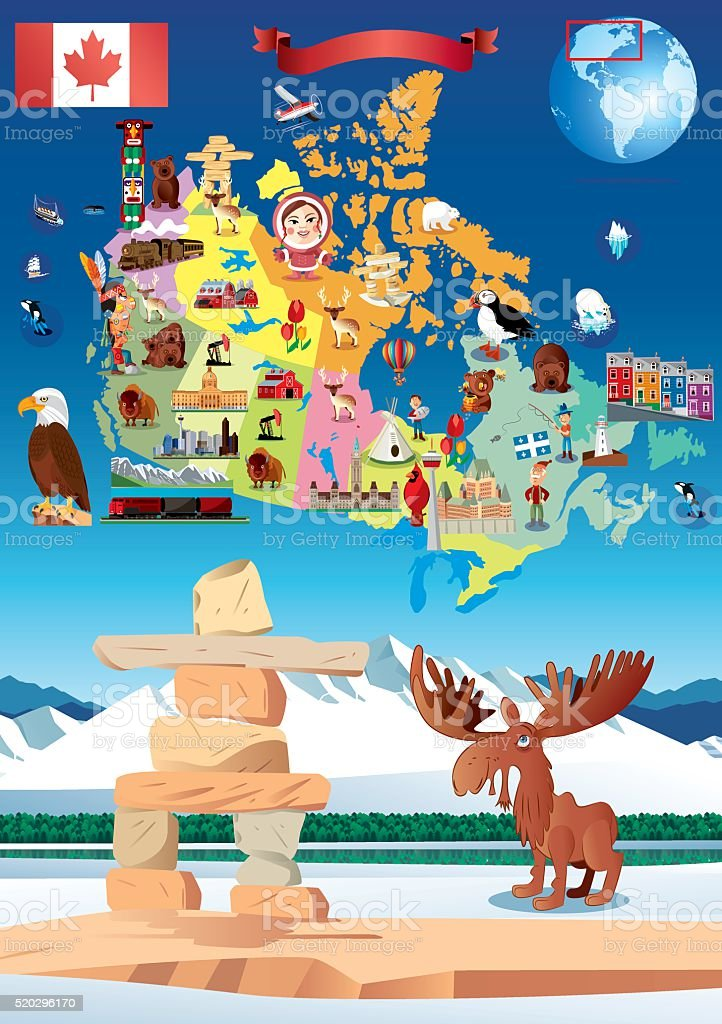 Cartoon map of Canada vector art illustration