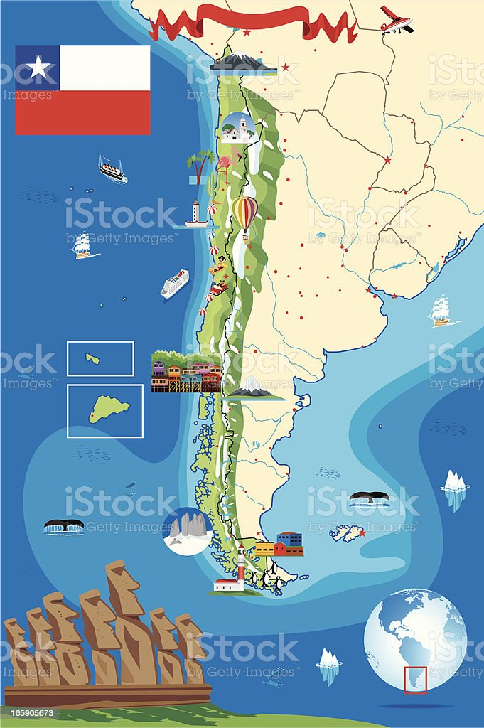 Cartoon map of  Chile vector art illustration