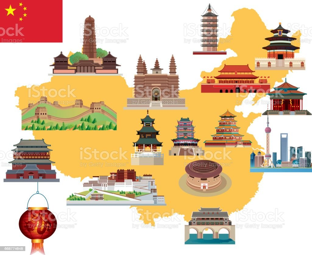 Cartoon map of China vector art illustration
