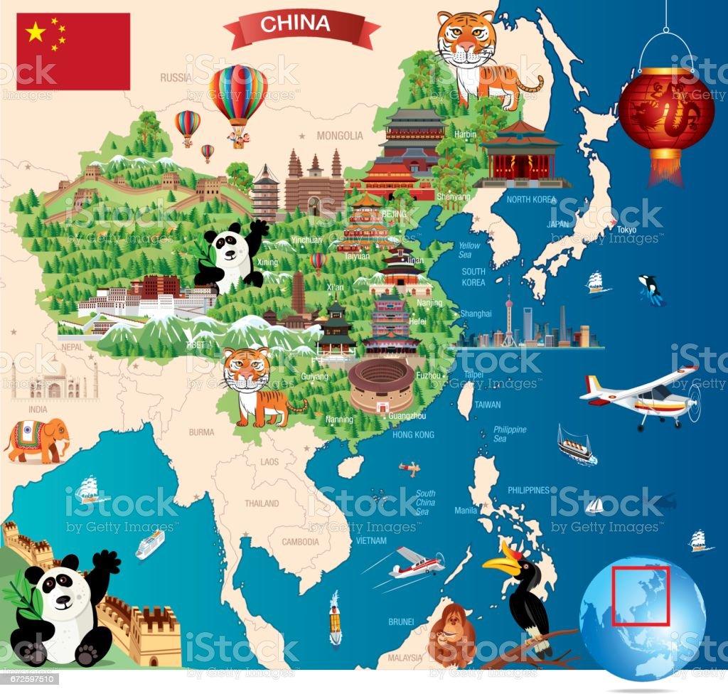 Chinesische Mauer Karte.Cartoonkarte Von China Stock Vektor Art Und Mehr Bilder Von