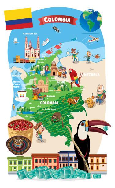 cartoon-karte von kolumbien - cartagena stock-grafiken, -clipart, -cartoons und -symbole