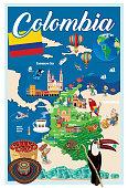 Vector Cartoon map of COLOMBIA