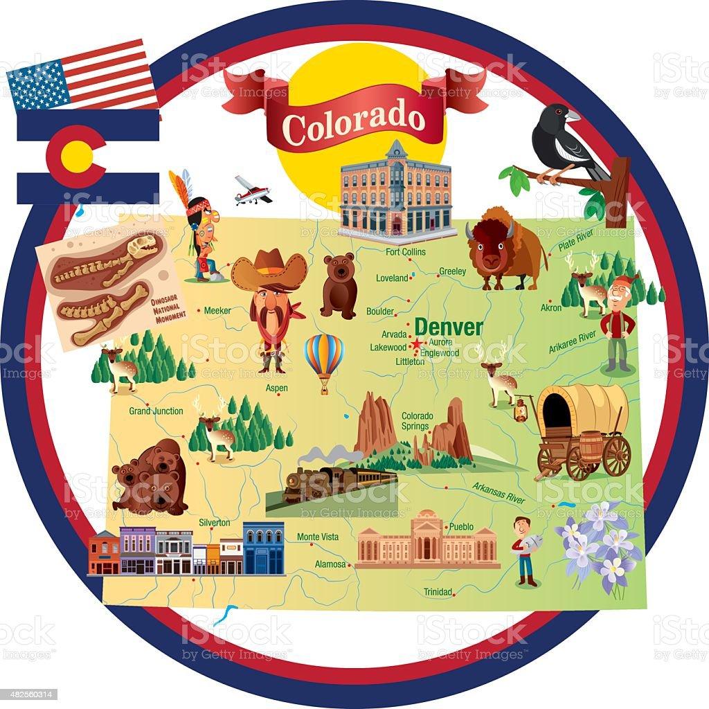 Colorado Images: Cartoon Map Of Colorado Stock Vector Art & More Images Of