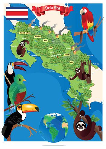 Cartoon map of Costa Rica, San Jose, Puerto Limón, Alajuela, Heredia, Cinco Esquinas, Homeless, Liberia, Puntarenas, San Vicente, Barranca