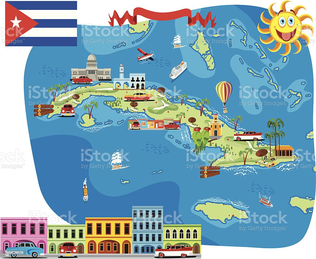 Cartoon Map Of Cuba Stock Vector Art More Images of Business