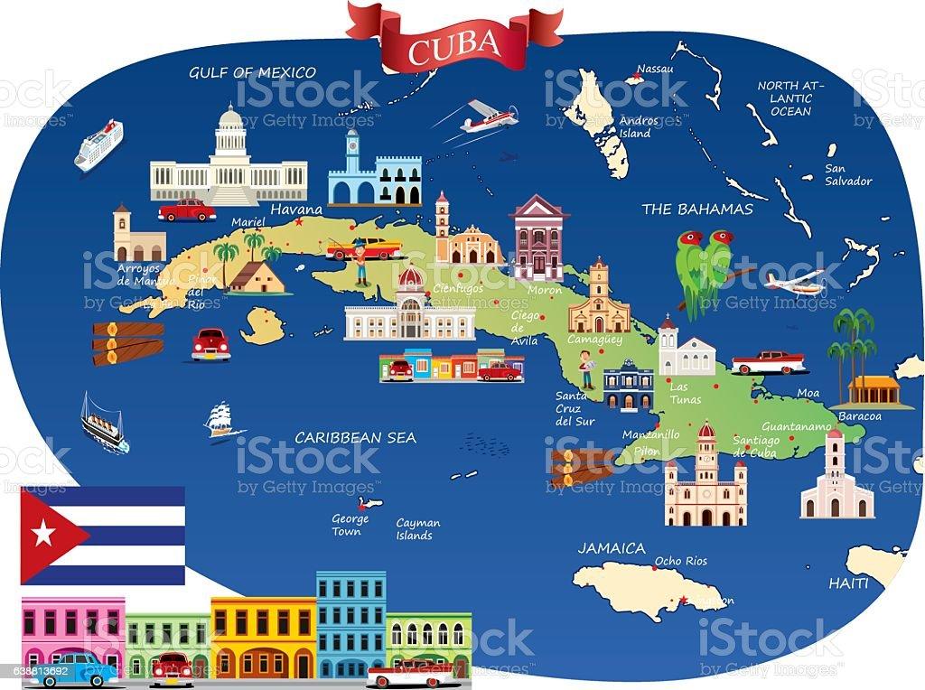 Cartoon Map Of Cuba Stock Vector Art IStock - Map cuba