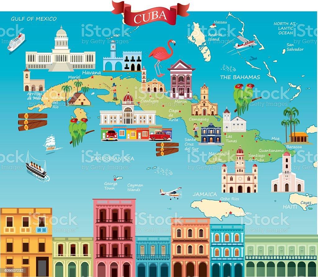 Cartoon Map Of Cuba Stock Vector Art Amp More Images Of